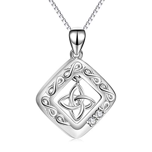 LUHE Celtic Knot Pendant Necklace 925 Sterling Silver Square Medallion Irish Celtic Jewelry for Women Girls, Gifts for Mother Daughter Girlfriend Sisters