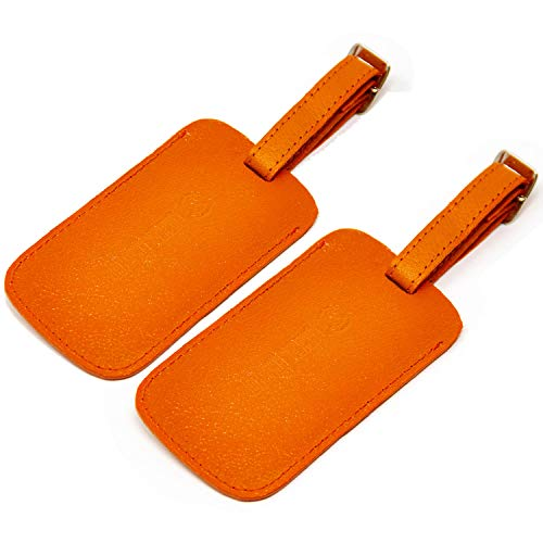 Logical Leather Luggage Tag Genuine Leather Travel ID Tags with Adjustable Leather Strap, Address Card and Privacy Cover, Orange, Set of 2 ()