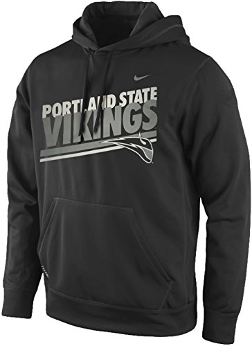 Jacket Hockey Nike - Nike Portland State Vikings Double Stripe Pullover Therma-Fit Hoodie (Anthracite Gray, Large)