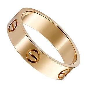 OMFEE Stainless Steel Designer Screw Head Love Wedding Ring Gold Finish,Sizes 5 - 10