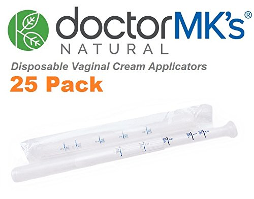 Disposable Vaginal Applicators (25-Pack), Fits Premarin Estrace Contraceptive Gels and Many Other Creams, Individually Wrapped Applicator with Dosage Markings, by Doctor MK's®