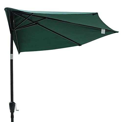 10   10 Ft Green Polyester Patio Off The Wall Half Umbrella 5 Ribs 97 In S  Steel Pole Tilt System Crank Handle For Balcony Door Sunshade Opt Furniture Outdoor Canopy