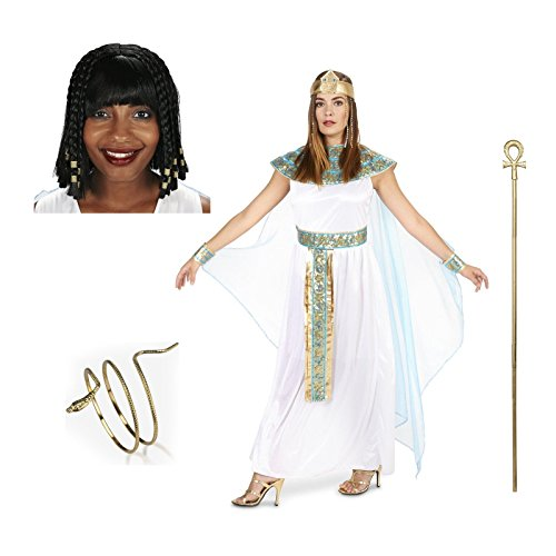 [Pharaoh's Queen Adult Costume Large Staff Wig Jewelery Bundle Set] (Cleopatra Outfit)