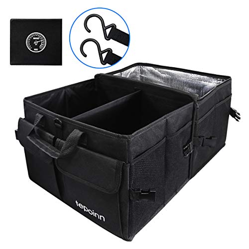 Tepoinn Car Trunk Organizer with Cooler Compartment Collapsible Portable Storage Container with Non Slip Bottom Strips to Prevent Sliding Foldable Thin Nylon Waterproof Cover(Black)