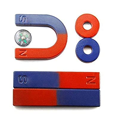 Physics Science Magnets Kit for Education Science Experiment Tools Icluding Bar/Ring/Horseshoe/Compass Magnets: Toys & Games