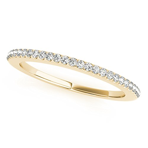 (MauliJewels 0.14 Carat Diamond Wedding Band in 14K Solid Yellow Gold Ring Size - 5)