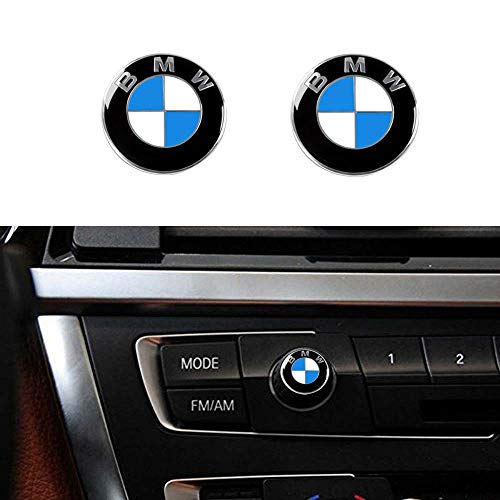 Enseng 2 Piece BMW Radio Button Emblem Sticker, 12mm Badge Decals Decoration Logo Fit for BMW -