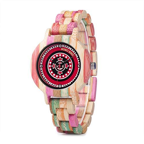 WATCH Reloj de Madera de bambú Colorido para la Mujer Reloj de ...