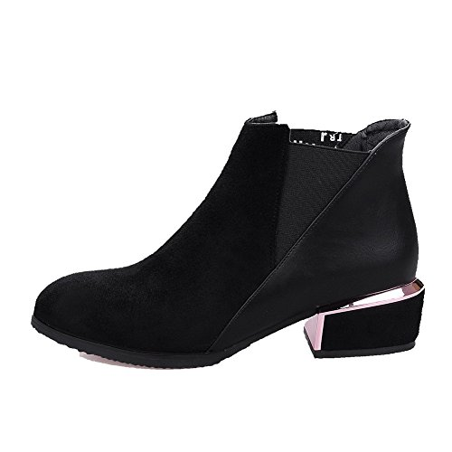 Allhqfashion Women's Pull-On Low-Heels Blend Materials Solid Low-Top Boots Black AgOyD