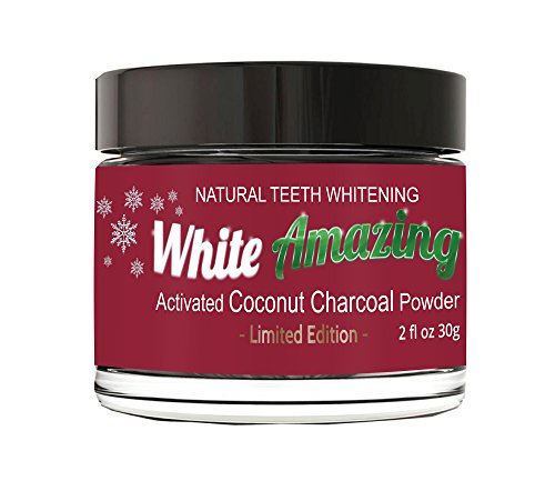 WHITE AMAZING Natural Teeth Whitening Powder With Activated Coconut Charcoal Powder - (Mint) Limited Edition Organic Teeth Whitener - Bentonite Clay, Top Quality 1200 Powder count Non Abrasive Safe