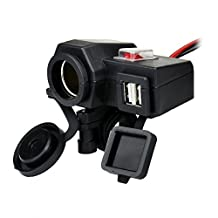 FAMI Waterproof Black Dual 5V/2.1A USB Cell Phone GPS 12V Motorcycle Auto Cigarette Lighter Socket Intergration Motorcycle Power Port Socket Charger Outlet with Switch and Handlebar Clamp
