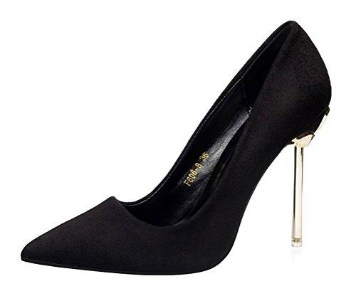 T&Mates Womens Classic Versatile Pointed Toe Slip On Pumps Stiletto Evening Work Dress High Heels (5 B(M) US,Black)