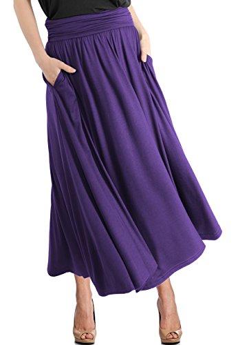 (TRENDY UNITED Women's High Waist Fold Over Pocket Shirring Skirt (S0035-PPL, M))