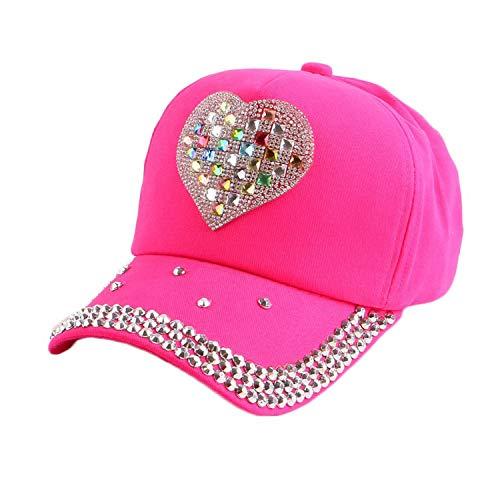 (Baby Casquette Floral Baseball Cap for Girl boy Children 4-12 Year Cotton Denim Hip hop Snapback Gorras Hats,Fuchsia,48-54 cm,3-11 Year Old)