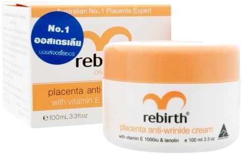 Rebirth Placenta Anti - Wrinkle Cream with Vitamin E & Lanolin 100 ml. [Free Beauty Gift]