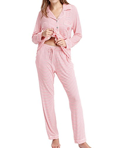 NORA TWIPS Laides Luxury Nightshirt Long Sleevel Button-Front Sleepwear by - Pajamas Button Piece Flannel 2