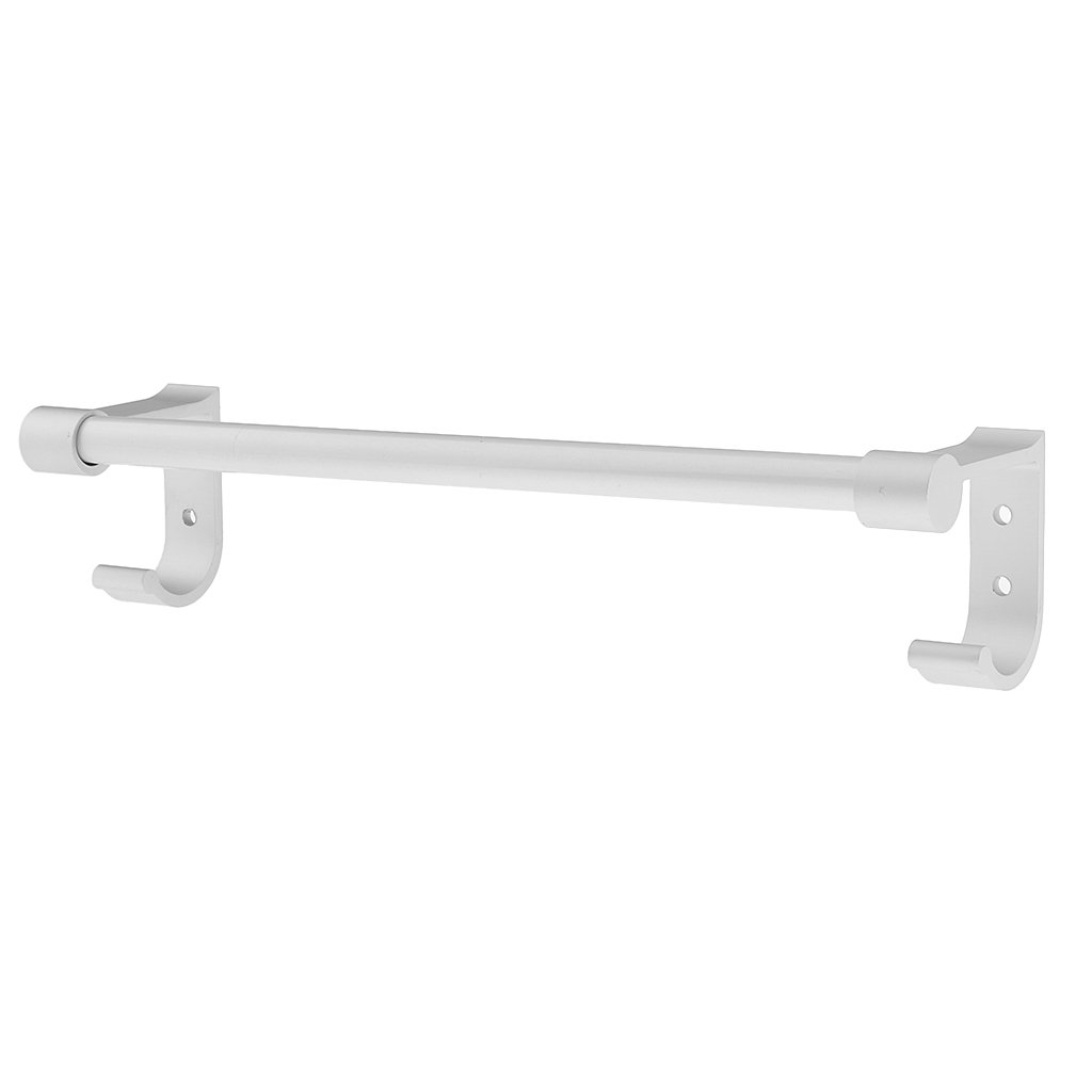 Homyl Aviation aluminum Bathroom Wall Mounted Single Towel Rail Rack Holder Bar With 2 Hooks 12'' 16'' 20'' 24'' Great for bathroom, kitchen, laundry room etc. - 30cm(12