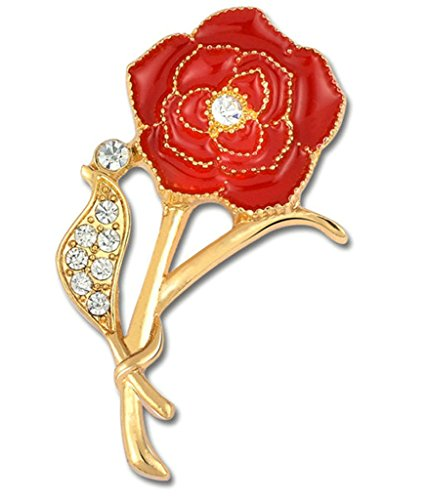 Gnzoe Jewelry, Womens Brooch Rhinestone Flowers Shape Flower Brooch Vivid Flowers Brooch Pins Red