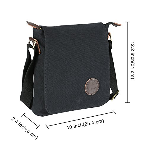 HOWO Unisex Shoulder Bag 10Laptop iPad Bag Messenger Bag School Bag with Solar Panel black
