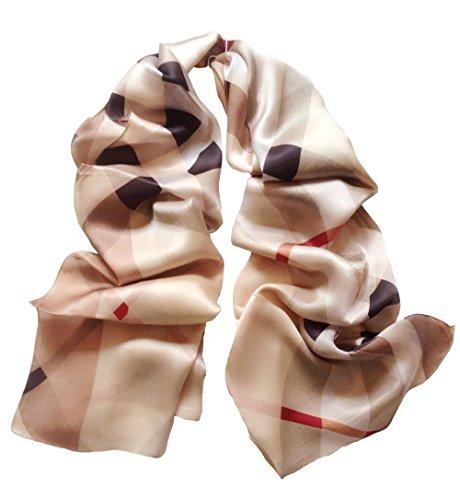 JIMINCI Womens Fashion Plaid Scarf 100% Silk (Light Brown) (Fashion Ladies Plaid Scarves)