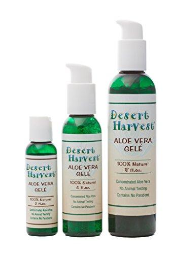 Desert Harvest Aloe Vera Gele (4 oz) 100% organic aloe vera gel, anti-inflammatory pain reliever, effective for burns, sunburns, rashes, eczema, psoriasis, insect bites, under make-up moisturizer Review