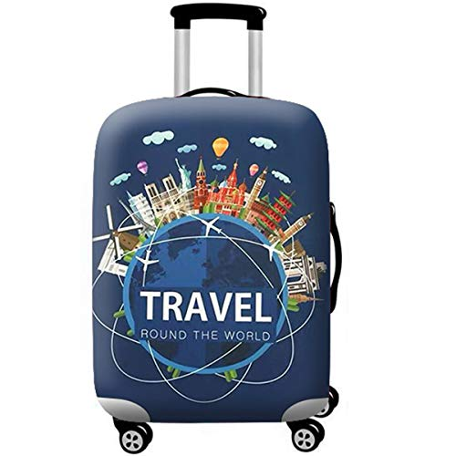 WUJIAONIAO Travel Luggage Cover Spandex Suitcase Protector Washable Baggage Covers (L (for 25-28 inch luggage), TRAVEL)