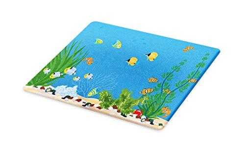 Lunarable Aquarium Leaf Cutting Board, Underwater Fauna Fish Bowl Life Themed Nursery Cartoon Design Illustration, Decorative Tempered Glass Cutting and Serving Board, Small Size, Multicolor ()