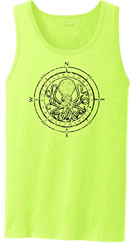 (Joe's USA Koloa Surf Octopus Logo Heavyweight Cotton Tank Top-NeonYellow/b-2XL)