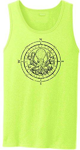 Joe's USA Koloa Surf Octopus Logo Heavyweight Cotton Tank Top-NeonYellow/b-2XL