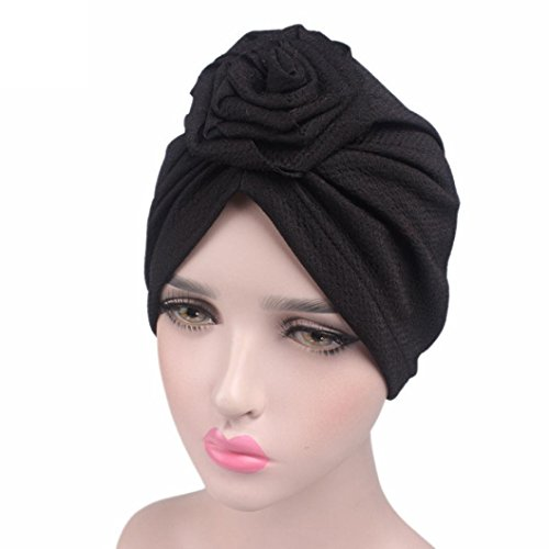 Roses Cancer Chemo Hat, AMA(TM) Women Cotton Stretch Turban Hat Beanie Scarf Head Wrap Cap (Black) (Head Turban Scarf Wrap)