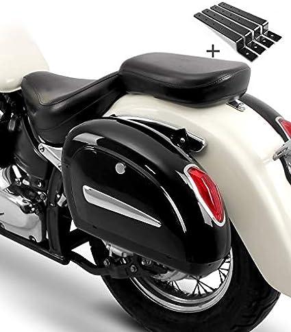 Alforjas rigidas (par) Moto Custom Craftride Michigan 18l + Kit de Montaje Suzuki Intruder VL 1500/250 LC/VL 800 Volusia, Intruder VS 1400/600/ 750/800, LS 650 Savage, Marauder VZ 800