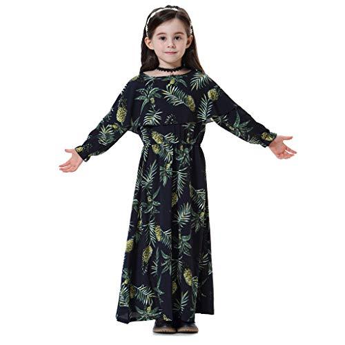 ❤️ Mealeaf ❤️ Kids Girls Muslim Islamic Floral Long Sleeves Full Length Robe Burka Maxi Dress(12M-8Y) -