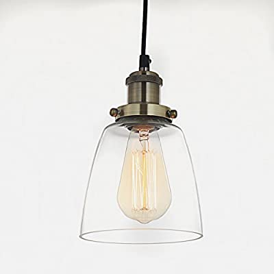 SPARKSOR Edison Mini Glass 1-Light Pendant Hanging Lighting Lamp Fixture, Brushed Nickel Industrial Factory Pendant Lamp with Clear Glass Shade,5.7inches,Adjustable Hanging Height