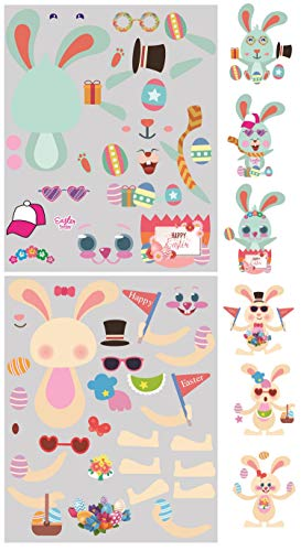 (20Pcs Larger Size Make-A-Bunny Stickers Easter Sticker Sheets, Easter Bunny Sticker Sheets Easter Party Favors (TypeC) )