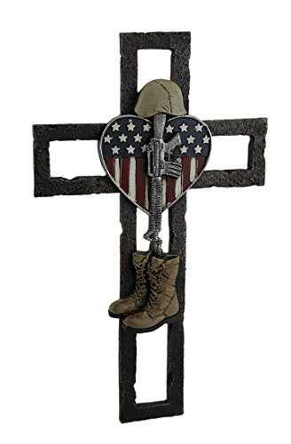 Heroes Appreciation Gifts Faux-Metal Fallen Soldier Memorial Wall Cross with American Flag and Heart Theme, - Fallen Heroes Memorial