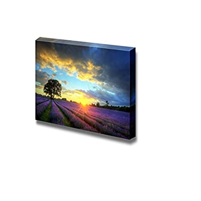 Canvas Prints Wall Art - Stunning Sunset with Atmospheric Clouds and Sky Over Vibrant Ripe Lavender Fields - 16