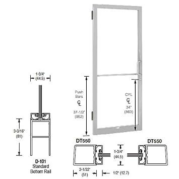 CRL U.S. Aluminum Clear Anodized Single 36u0026quot; X 84u0026quot; 250 Narrow  Stile Door