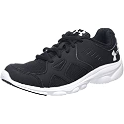 Under Armour Boys' Grade School Pace Running Shoes, Black/White, 5.5 M US Big Kid