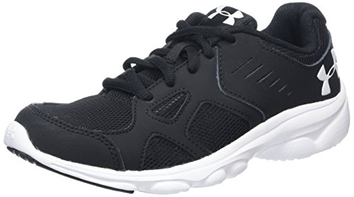 Under Armour Boys' Grade School Pace Sneaker, Black (001)/White, 6