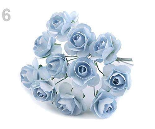 - 1bunch 6 Forget-me-not Blue Artificial Roses for Boutonnierre Ø20mm, Flowers and Blooms, Various Decorations