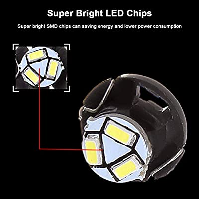 cciyu 10 Pack White T5 Neo Wedge 3 SMD Led Bulbs A/C Climate Control LED Ligh Dash Base Light Lamps 12V T5/T4.7-12mm Base diameter Replacement fit for 2012 Chrysler etc.: Automotive