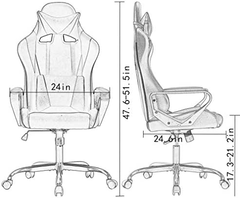 Ergonomic Office Chair PC Gaming Chair Desk Chair PU Leather Racing Chair Executive Computer Chair Swivel Rolling Lumbar Support for Women&Men, White 41O7mp 2BnTHL