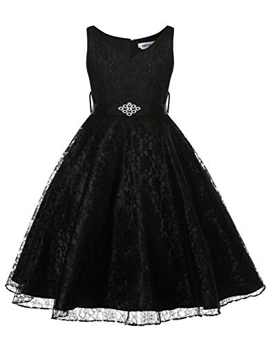 Hotouch Little Big Girls' Tulle Dresses Flower Lace Pageant Party Wedding Floor Length Dance Evening Gowns Black 8-9years ()