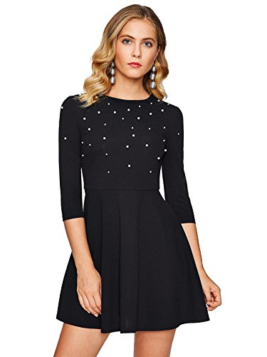 Floerns Women's Beaded Fit and Flare Short Skater Dress Black XS (Mini Quarter Sleeve Three Dress)