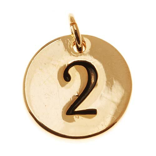22K Gold Plated Round Number Charm '2' (1/2 Inch)