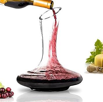Decantador de vino – 100% vidrio soplado a mano sin plomo, jarra de vino