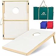 ApudArmis Wood Cornhole Set, 3x2Ft Classic Wooden Cornhole Boards with 8 Cornhole Bean Bags and Carrying Case