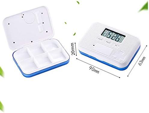 Caja de pastillas electrónica Caja de píldoras con temporizador de píldoras de 7 días Fácil de transportar con 6 compartimentos 5 alarmas múltiples separadas, temporizador, cuenta atrás y pantalla de: Amazon.es: Hogar