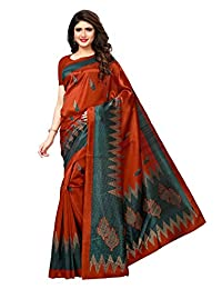 CRAFTSTRIBE Indian Traditional Art Silk Dress Bollywood Printed Party Wear Wedding Wear Sari Womens Saree