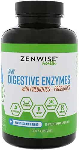 Zenwise Health Digestive Enzymes Plus Prebiotics & Probiotics - Natural Support for Better Digestion & Lactose Absorption - for Bloating & Constipation + Gas Relief - 180 Vegetarian Capsules